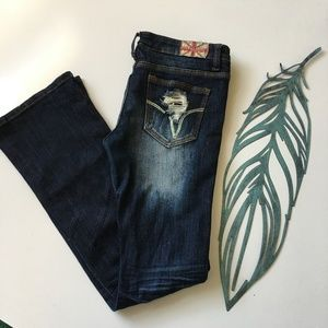 Machine Dark Wash Distressed Jeans